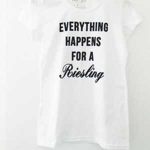 """🥂NWT White & Black Graphic Soft """"Riesling"""" Tee🥂"""